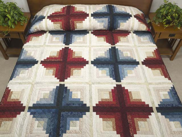 Log Cabin Variation Queen Size Bed Quilt