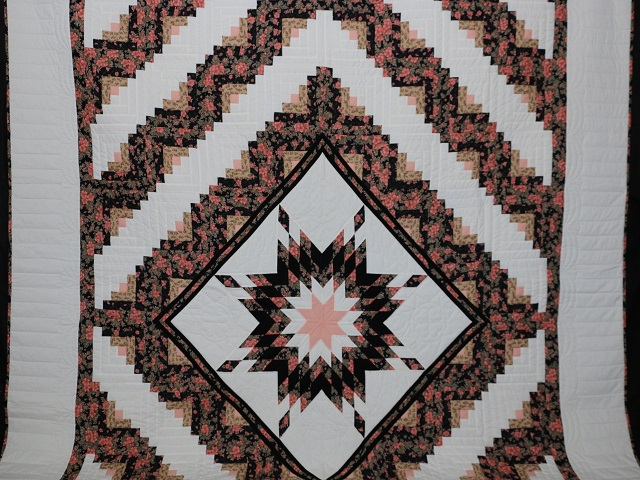 Rose Black  and Golden Tan Lone Star Log Cabin Quilt Photo 2