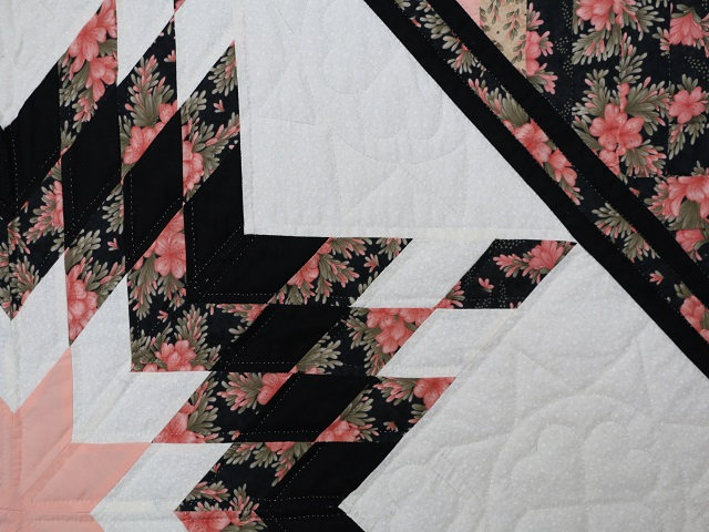 Rose Black  and Golden Tan Lone Star Log Cabin Quilt Photo 4