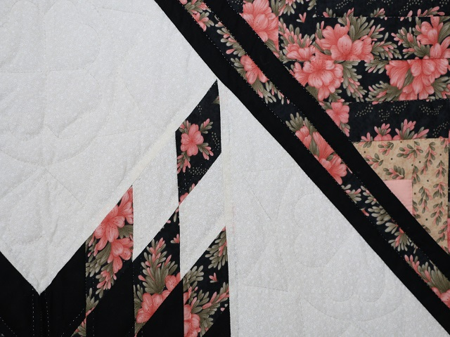Rose Black  and Golden Tan Lone Star Log Cabin Quilt Photo 5