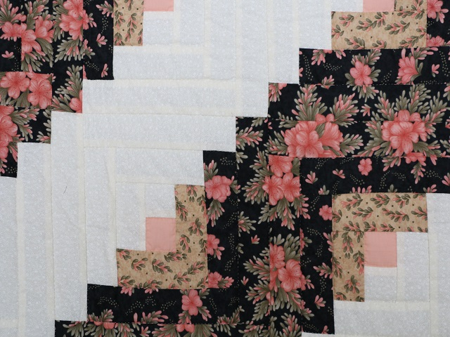 Rose Black  and Golden Tan Lone Star Log Cabin Quilt Photo 6