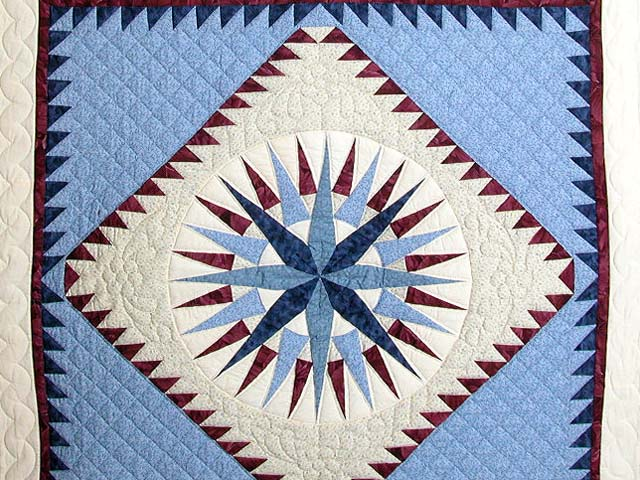 Blue and Burgundy Mariners Compass Quilt Photo 3