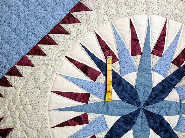 Blue and Burgundy Mariners Compass Quilt Photo 4
