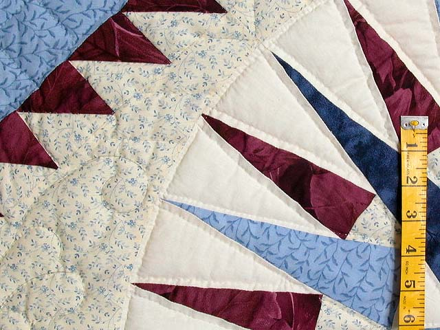 Blue and Burgundy Mariners Compass Quilt Photo 5