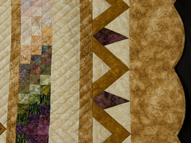 Queen size Rainbow Reflections  golds/plums/mauves/greens on neutrals Photo 5