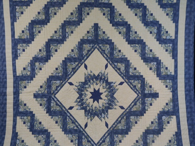 King Blue Yellow  Lone Star Log Cabin Quilt Photo 2