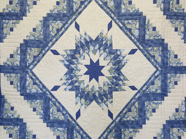 King Blue Yellow  Lone Star Log Cabin Quilt Photo 3