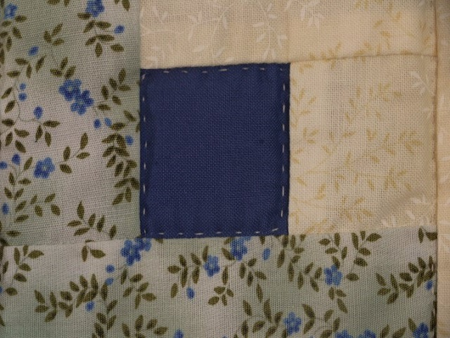 King Blue Yellow  Lone Star Log Cabin Quilt Photo 4