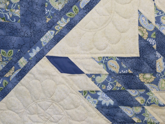 King Blue Yellow  Lone Star Log Cabin Quilt Photo 5