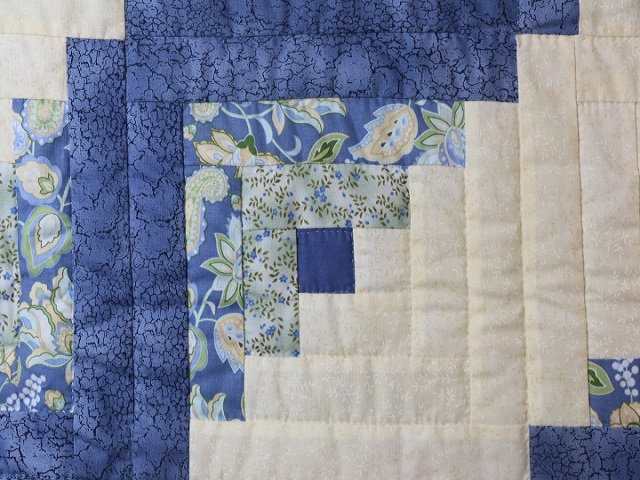 King Blue Yellow  Lone Star Log Cabin Quilt Photo 6