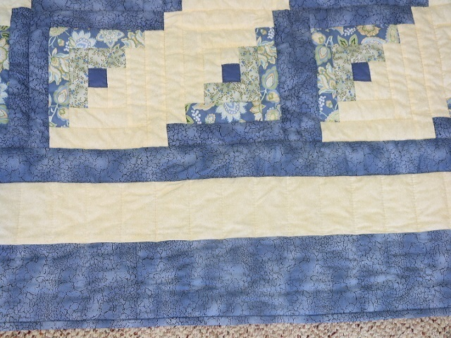King Blue Yellow  Lone Star Log Cabin Quilt Photo 7