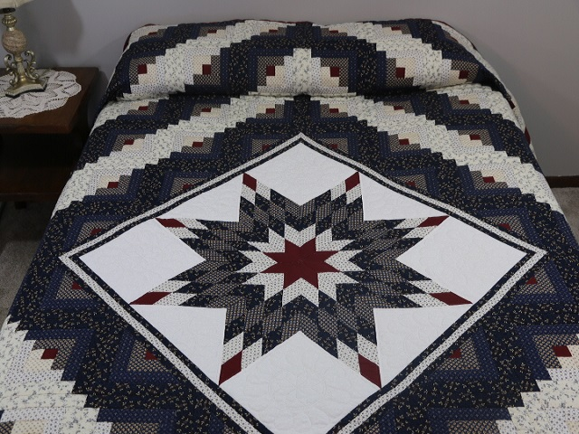 Navy Blue and Burgundy Lone Star Log Cabin Quilt Photo 1