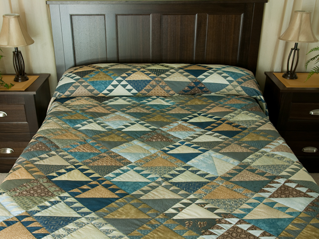 Lady of the Lake in Blues and Tans Queen size bed Photo 1