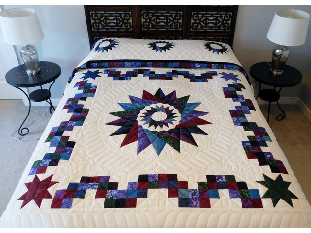 Navy Star Compass Carpenter Wheel Quilt Photo 1