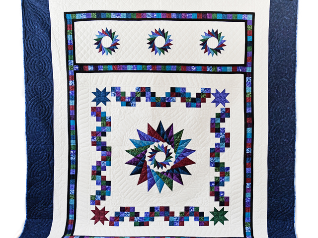 Navy Star Compass Carpenter Wheel Quilt Photo 2