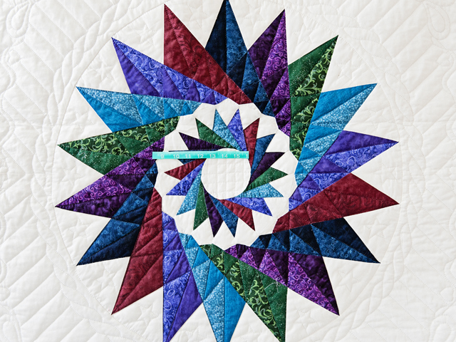 Navy Star Compass Carpenter Wheel Quilt Photo 5