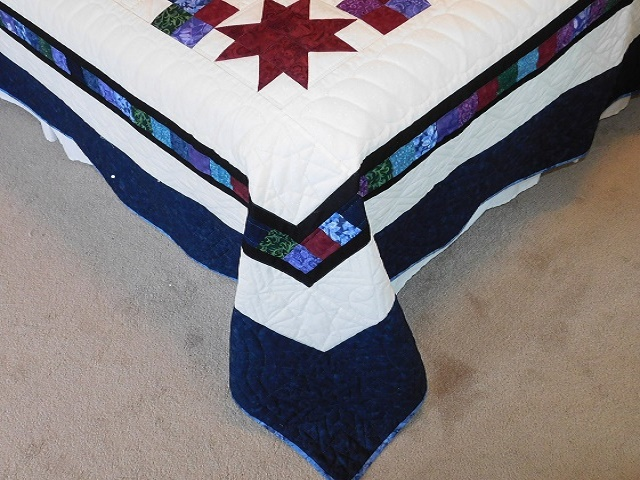 Navy Star Compass Carpenter Wheel Quilt Photo 7
