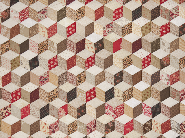 Burgundy and neutral Tumbling Blocks Queen size bed quilt Photo 4