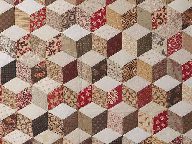 Burgundy and neutral Tumbling Blocks Queen size bed quilt Photo 5