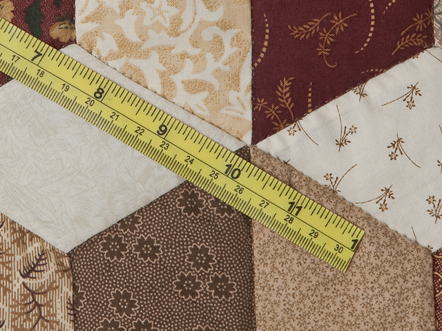 Burgundy and neutral Tumbling Blocks Queen size bed quilt Photo 8