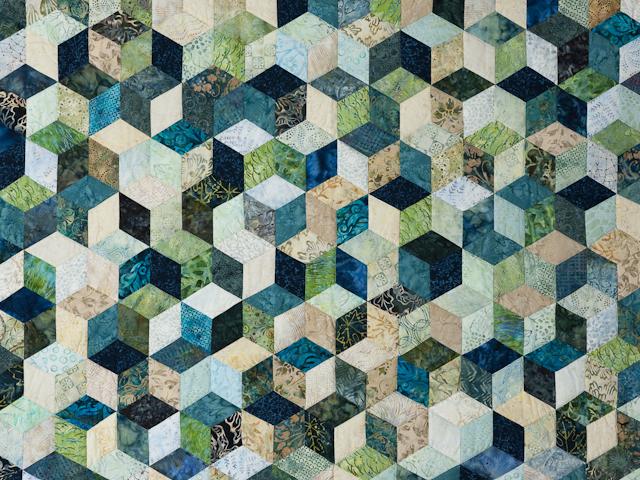 Tumbling Blocks - Queen size Hand Painted Batiks -  blues/greens/neutr Photo 3