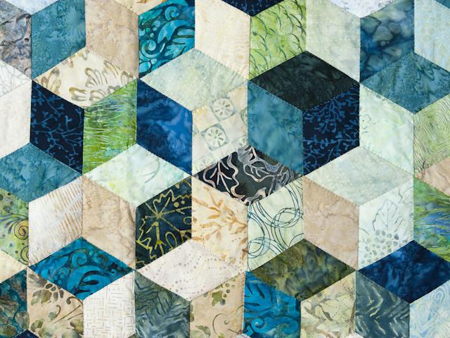 Tumbling Blocks - Queen size Hand Painted Batiks -  blues/greens/neutr Photo 4