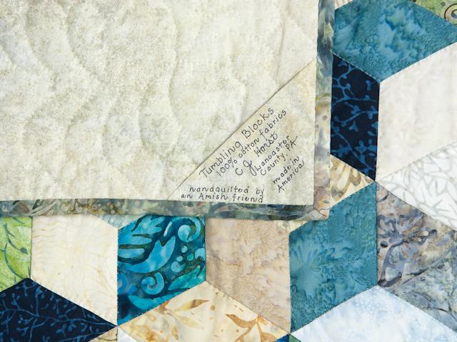 Tumbling Blocks - Queen size Hand Painted Batiks -  blues/greens/neutr Photo 6