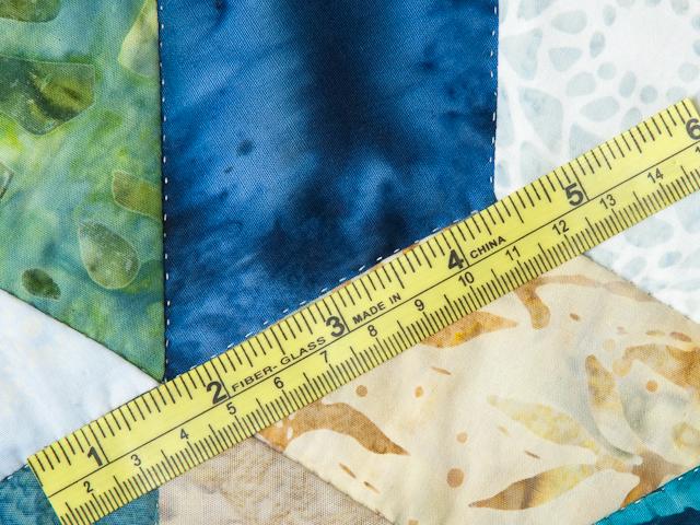 Tumbling Blocks - Queen size Hand Painted Batiks -  blues/greens/neutr Photo 8