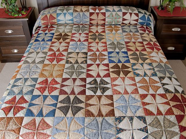 Vintage Blues, Red bricks, Creams Winding Ways Quilt Queen Size Photo 1