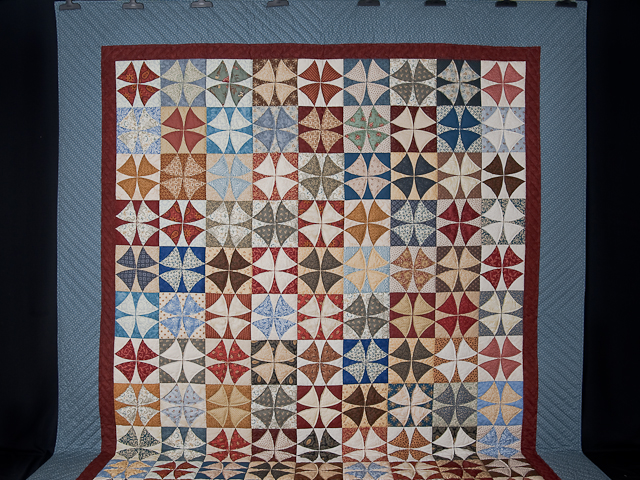 Vintage Blues, Red bricks, Creams Winding Ways Quilt Queen Size Photo 2