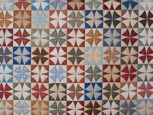 Vintage Blues, Red bricks, Creams Winding Ways Quilt Queen Size Photo 3