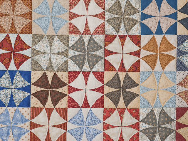 Vintage Blues, Red bricks, Creams Winding Ways Quilt Queen Size Photo 6