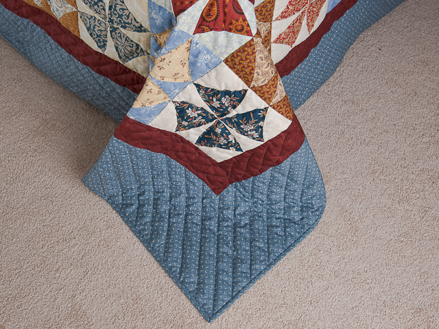 Vintage Blues, Red bricks, Creams Winding Ways Quilt Queen Size Photo 7
