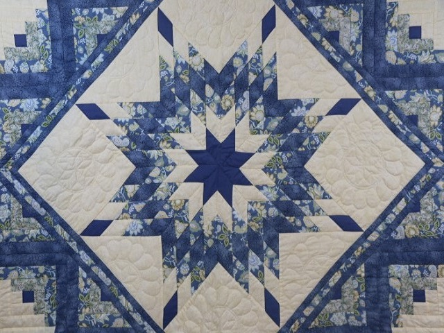 Blue Yellow Green Lone Star Log Cabin Quilt Photo 3