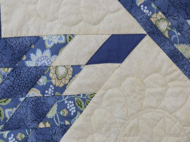 Blue Yellow Green Lone Star Log Cabin Quilt Photo 4