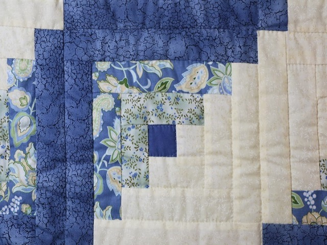 Blue Yellow Green Lone Star Log Cabin Quilt Photo 5