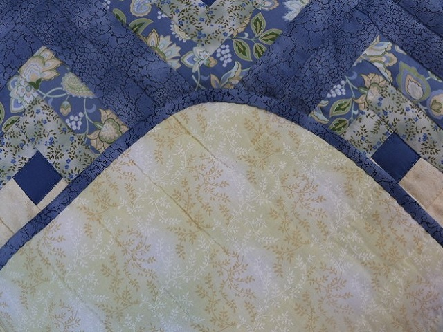 Blue Yellow Green Lone Star Log Cabin Quilt Photo 7