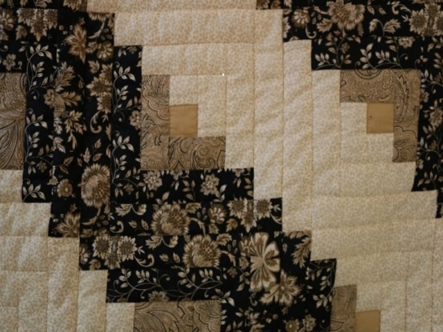Black Gold and Tan Lone Star Log Cabin Quilt Photo 7