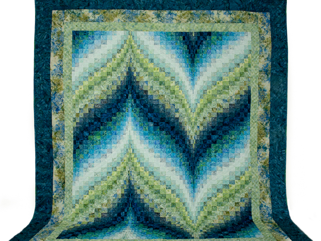 Bargello Flame - Beautiful Land and Sea Batiks!! Queen bed size Photo 2