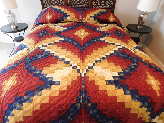 Red, Gold and Navy Diamond Jubilee Quilt Photo 1