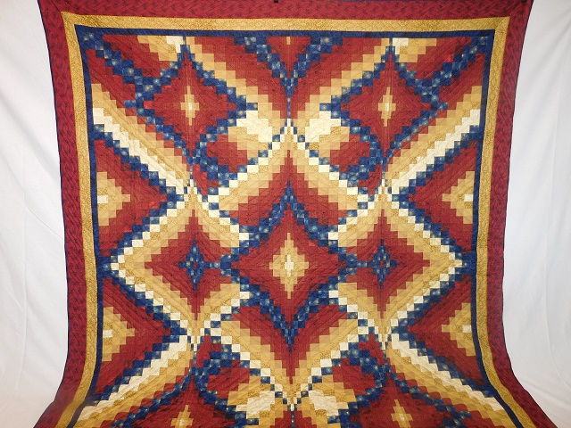 Red, Gold and Navy Diamond Jubilee Quilt Photo 2