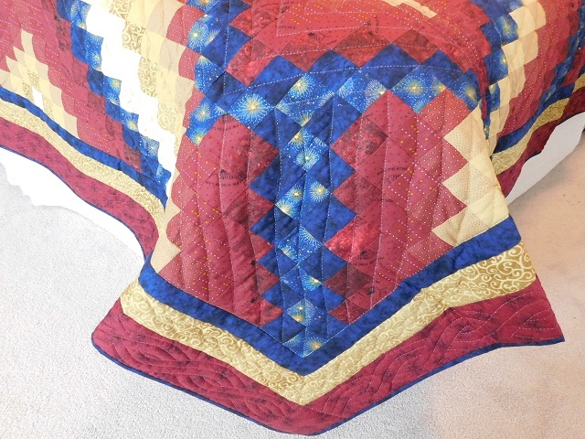 Red, Gold and Navy Diamond Jubilee Quilt Photo 7