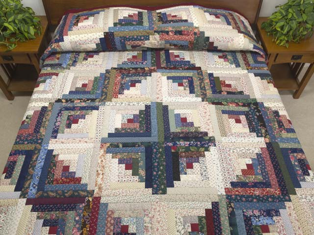 Navy Burgundy and Multi Log Cabin Quilt Photo 1