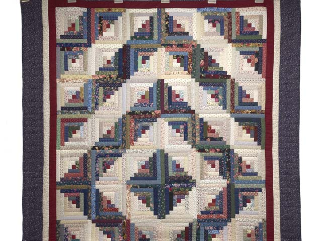 Navy Burgundy and Multi Log Cabin Quilt Photo 2
