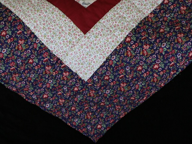 Navy Burgundy and Multi Log Cabin Quilt Photo 8