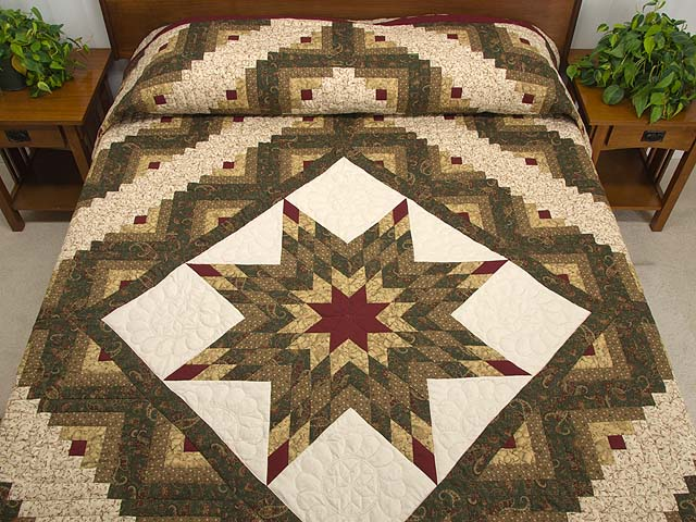 Earthtones Lone Star Log Cabin Quilt Photo 1