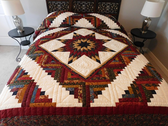 Navy Burgundy and Beige Lone Star Log Cabin Quilt Photo 1
