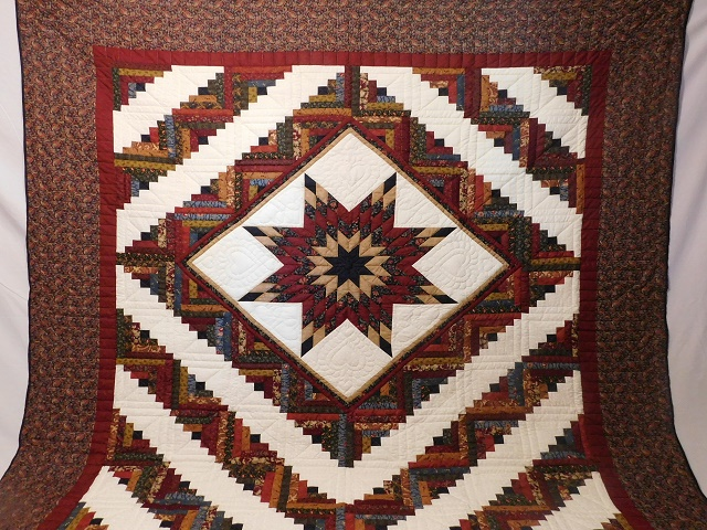 Navy Burgundy and Beige Lone Star Log Cabin Quilt Photo 2