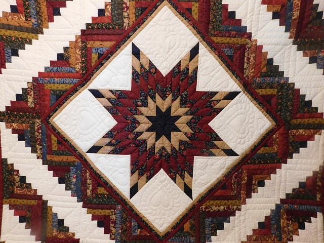 Navy Burgundy and Beige Lone Star Log Cabin Quilt Photo 3