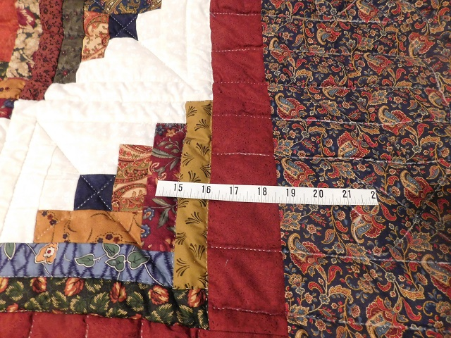 Navy Burgundy and Beige Lone Star Log Cabin Quilt Photo 4